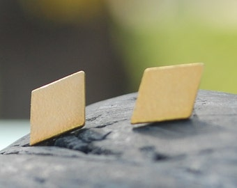 Rhombus Studs, Diamond Shape sterling silver earrings, gold earrings, eco-friendly. Handcrafted by Chocolate and Steel