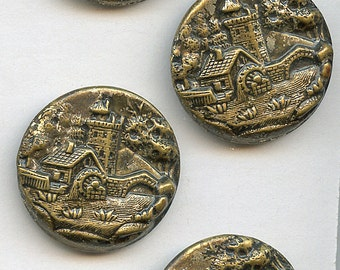 Antique Victorian Metal Picture Buttons Set of (4)  1  1/18 inch size ARCHITECTURAL 1728