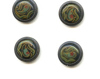 Set of (7)  Antique Victorian  Metal Buttons with painted Celluloid Centers  Extremely Nice 9/16 inch size 1737
