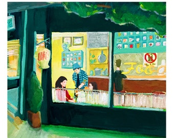 Night Herons gilmore girls edward hopper Nighthawks mashup ... giclée print ... you choose the paper size ... pop culture • diner • lukes