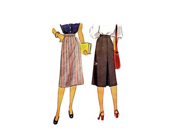 1940s Misses Inverted Pleat Skirt McCall 6867 Vintage Sewing Pattern Waist 26