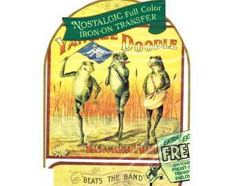 Frogs Yankee Doodle ThackerFruit Beats the BandThe Gentlemens Club Nostalgic Full Color Iron-On Transfer