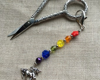happy rainbow and unicorn scissors fob -- a sparkly addition to your embroidery scissors