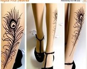 10%OffEndsOct24 Sexy PEACOCK FEATHER TATTOO gorgeous thigh-high socks Ultra Pale