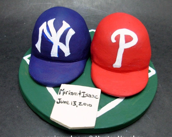 Yankees vs Phillies Baseball Wedding Cake Topper, Red Sox Wedding Anniversary Gift, Boston Red Sox Wedding CakeTopper, Baseball Anniversary