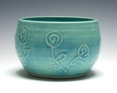 Small Turquoise Bowl with Swirl Flowers