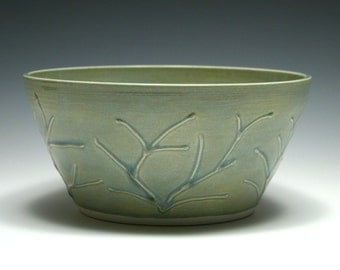 Ocean Blue Bowl with Raised Branch Design