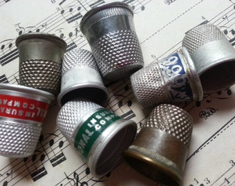 Eight Vintage Sewing Thimbles. Metal. Jewelry Sewing Supplies. Steampunk. Shabby.