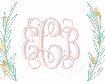 """4"""" and 5"""" inch Embroidery Font Interlocking Vine Monogram Grace BX instant download 5x7 6x10"""