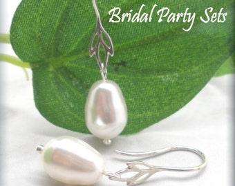 Bridesmaid Jewelry, Wedding Jewelry, Bridesmaid Gift, Pearl Earrings, Lotus Flower Earrings, Sterling Silver, Pearl Drop Earring SE651