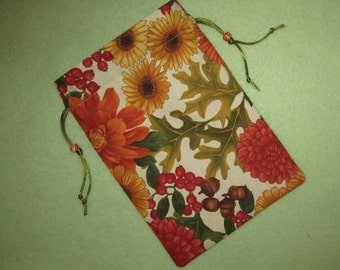 Tarot Card Bag Acorns and Flowers I Earth Goddess Gaia Maya Sophia Magick