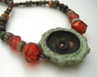 raku pendant necklace, handmade raku jewelry