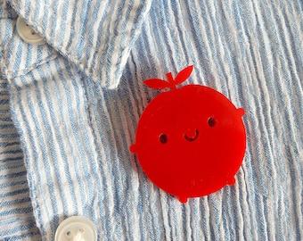Happy Apple Acrylic Brooch - Kawaii Fruit