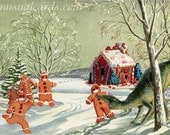 Can't Catch Me I'm the Gingerbread Man Dinosaur Box-less Set of Vintage Style Seasonal Christmas Cards from Unusual Cards