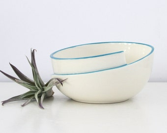 Modern Porcelain Bowl Blue, Whirl Bowl with Blue Accent, Handmade Asymmetrical Ceramic Bowl, Studio Pottery Bowl