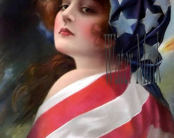 Pin up girl with flag*Quilt art fabric block*Quilts,Pillows,Sachets,Frame