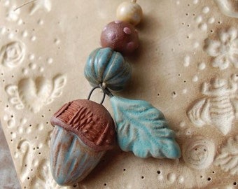 Blue Acorn / Ceramic Acorn and Leaf Charm and Bead Set