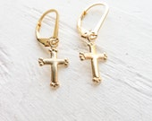 Gold Cross Leverback Earring Dainty Lever back Earings with Gold Filled Crosses