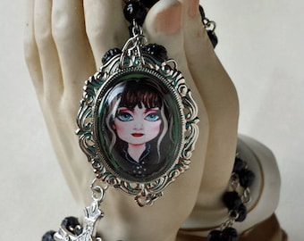Big Eye Exene Rosary Black Rose Shaped Beads