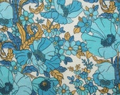 SALE vintage 60s 70s cornfield fabric featuring blue and turquoise poppies 61""