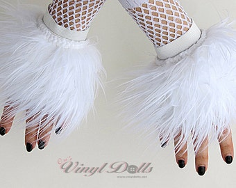 Cyber Fluffies White Fuzzy Furry Wrist Cuffs Rave Hand Warmers