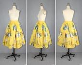 vintage skirt / novelty print / cotton / CARNIVAL 1950s skirt