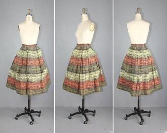 vintage skirt / 1950s / novelty print / TRIBAL SCROLL cotton skirt