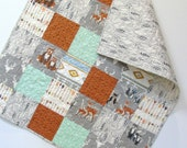 Baby Boy Quilt Woodland Nursery Hello Bear Rustic  Deer Arrows Nursery Bedding Crib Bedding Warrior Gray Mint Rust Forest Animals
