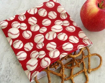 Reusable Snack and Sandwich Bag, Zero Waste Lunch Bag with Baseballs for Boys or girls
