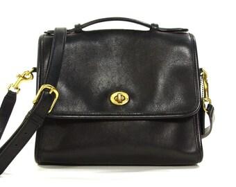 Coach Purse / Vintage 1980s Black Leather Authentic Coach Handbag with Removable Long Shoulder Strap & Flap Closure / Medium