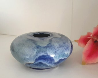Blues, purples & frost Ikebana vase with flower frog pin frog - kenzen studio art pottery by Earth N Elements Pottery