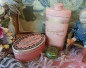 Three adorable Shabby Chic Vintage decorative tins for talc, mints & ointment, pink and green, wonderful patina, great condition