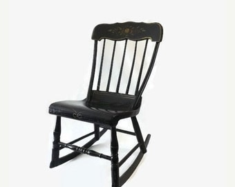 Antique Baby Boston Rocker, Wooden Nursing Rocking Chair, Black Paint with Folk Art Stencilled Fruit Motif