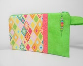 Green and Yellow Wristlet with Beaded Zipper Pull Harlequin Diamonds