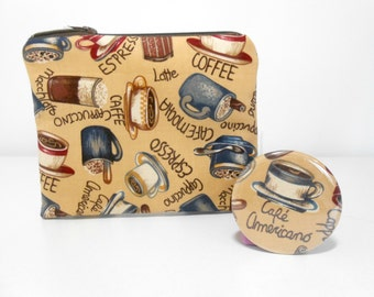 Coffee Cups Coin Purse Zip Pouch and Pocket Mirror Set, Tan Cotton Accessory Set