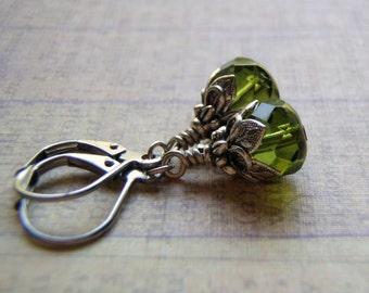Olive Green Earrings 9 x 6 mm Czech Glass Dangle Antique Silver Lever Back Ear Wire