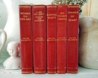 5 Faith Baldwin Romance Novels 1940s Red Hardcover Vintage Books Instant Collection