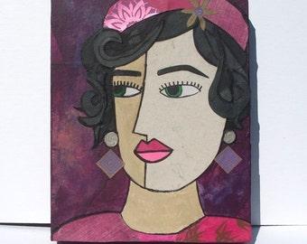 50% OFF SALE - Raspberry Beret Art Original - Strong Woman Portrait, whimsical Art, Mixed Media Collage Art, wall art decor painting