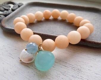Chalcedony, Coin Pearl, Aquamarine, Matte Jade Stackable Bracelet