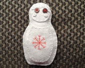 Aegishjalmur in grey and red - handmade altar/charm protection doll