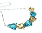 Gold & Turquoise Arrows Necklace Chasing Chevron Swarovski Crystal Golden Shadow Sterling Silver Simple Chain Sophisticated Bow Circlet Blue