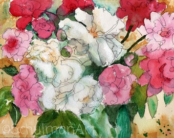 floral Watercolor Painting print | pink peonies flowers | floral home decor