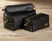 Black Motorcycle Leather Dopp Bag - 3 Sizes