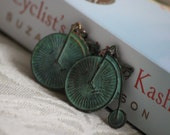 Slightly Steampunk Penny Farthing Earrings, Patina Brass, Vintage Inspired, Boxing Day Sale
