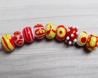 Red and Yellow Lampwork bead set