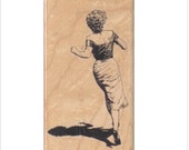 rubber stamp woman running lady number 1080 stamps stamping