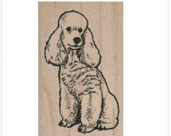 Poodle Rubber stamp Poodle  sitting Dogs  wood Mounted  scrapbooking supplies number 11186