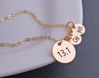 13.1 Necklace, Personalized Half Marathon Jewelry, Athletic Necklace, Runner Gift