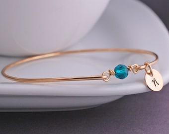 Gold Emerald Bracelet, Gold May Birthstone Bangle Bracelet, Custom May Birthday Gift, Emerald Bangle