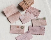 Dolls House Miniature Vintage Letters Set Shabby Chic 1:12th scale
